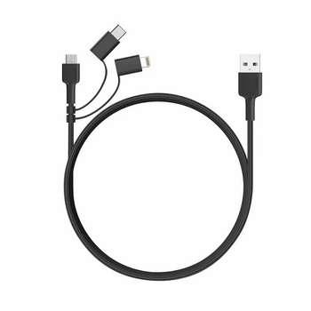 کابل تبدیل USB به لایتنینگ / USB-C / microUSB آکی مدل CB-BAL5 طول 1.2 متر