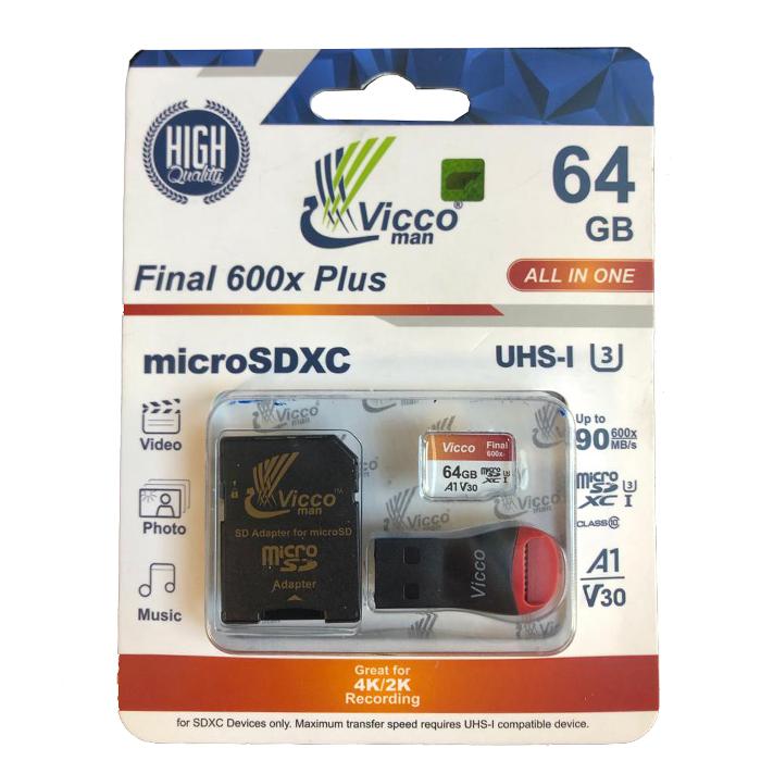 کارت حافظه microSDXC ویکو من مدل Final 600X کلاس 10 استاندارد UHS-I U3 سرعت 90MBps ظرفیت 64گیگابایت همراه با کارت خوان