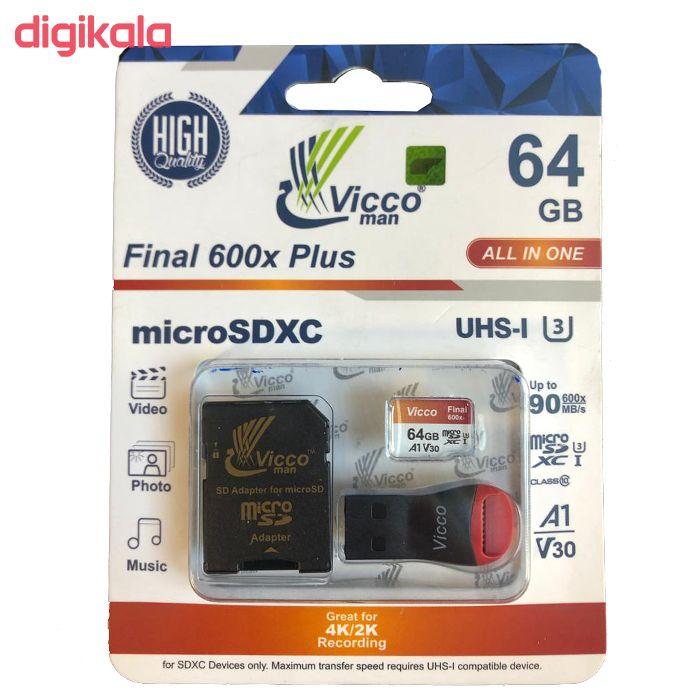 کارت حافظه microSDXC ویکو من مدل Final 600X کلاس 10 استاندارد UHS-I U3 سرعت 90MBps ظرفیت 64گیگابایت همراه با کارت خوان main 1 2