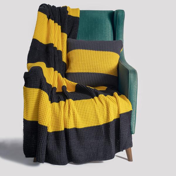 شال مبل و تخت مدل striped سایز 130x170 سانتی متر به همراه کاور کوسن