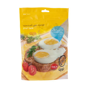 تخم مرغ آب پز بدون پوست نوین بسته 6 عددی