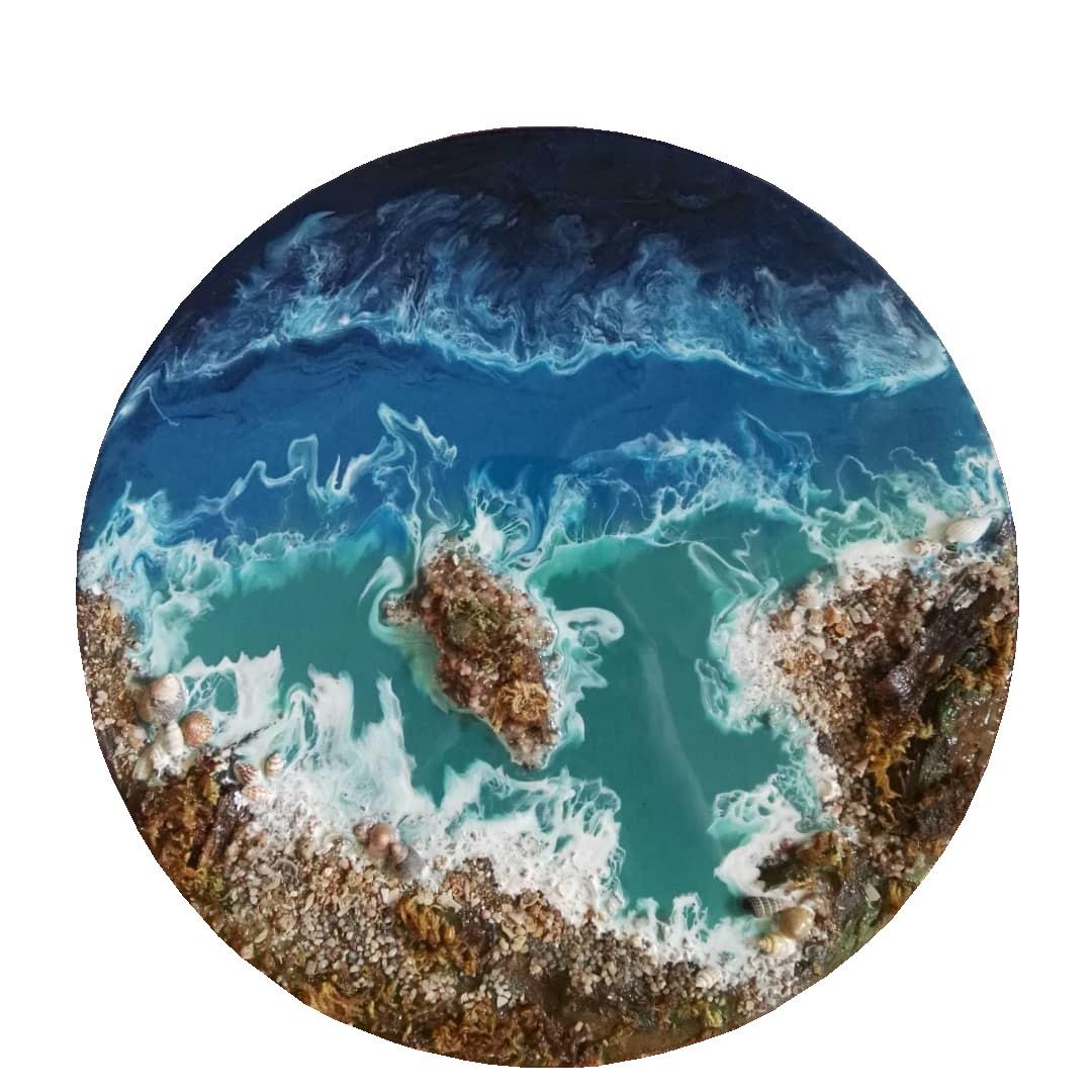تابلو رزین طرح دریا و جزیره کد N_313