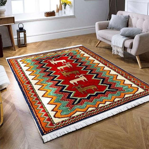 فرش ماشینی طرح گبه کد 100332 زمینه لاکی