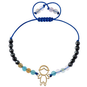 دستبند طلا 18 عیار دخترانه کرابو طرح پسربچه مدل Krd1010