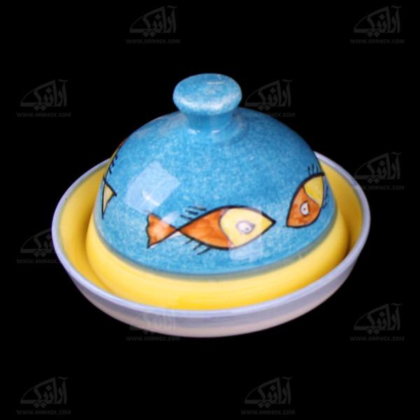 ظرف کره وپنیر سفالی نقاشی زیر لعابی رنگارنگ طرح ماهی مدل 1018300001