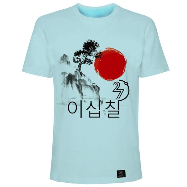 تیشرت آستین کوتاه مردانه 27 مدل کره ای کد H05 رنگ آبی