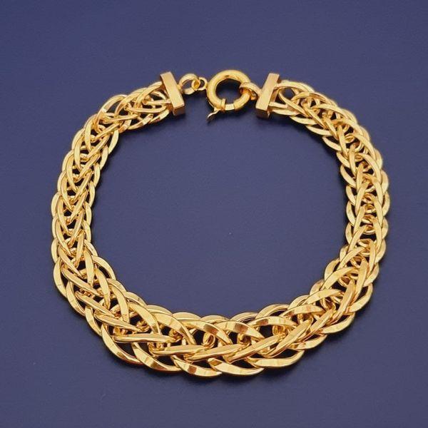 دستبند طلا 18 عیار زنانه گالری یارطلا مدل بافت کد DMS01