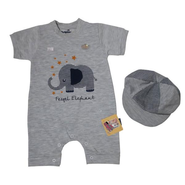 ست سرهمی و کلاه نوزادی پسرانه فسقلیمون طرح فیل کد 1155 رنگ طوسی