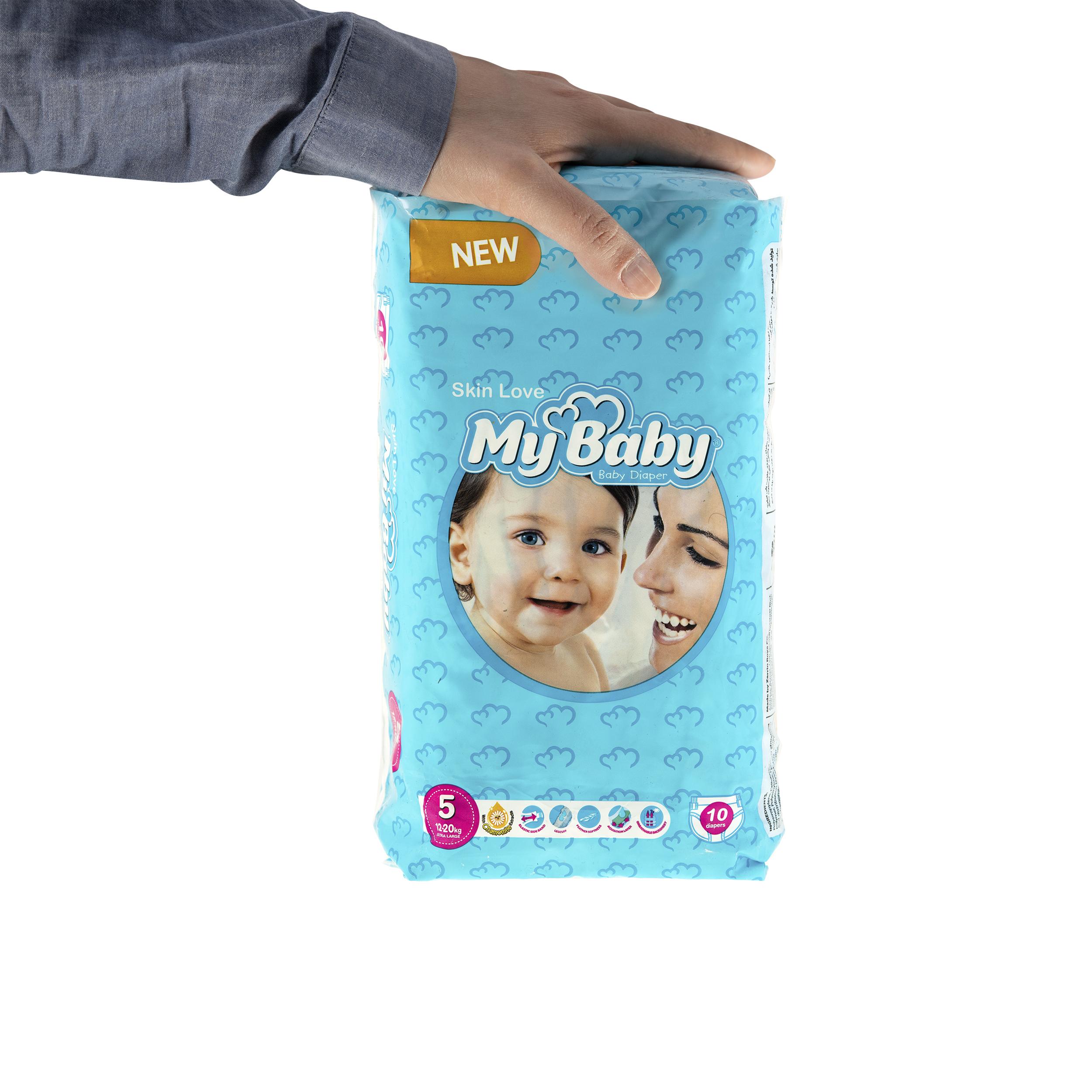 پوشک مای بیبی آبی سری مهربان با پوست سایز 5 بسته 10 عددی