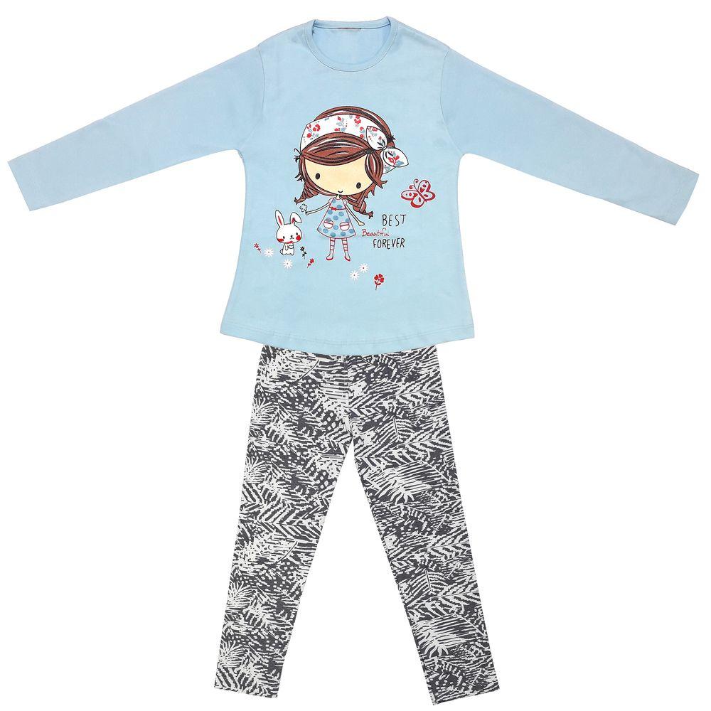 ست تی شرت و شلوار دخترانه طرح دختر و خرگوش کد 3073 رنگ آبی