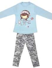 ست تی شرت و شلوار دخترانه طرح دختر و خرگوش کد 3073 رنگ آبی -  - 2