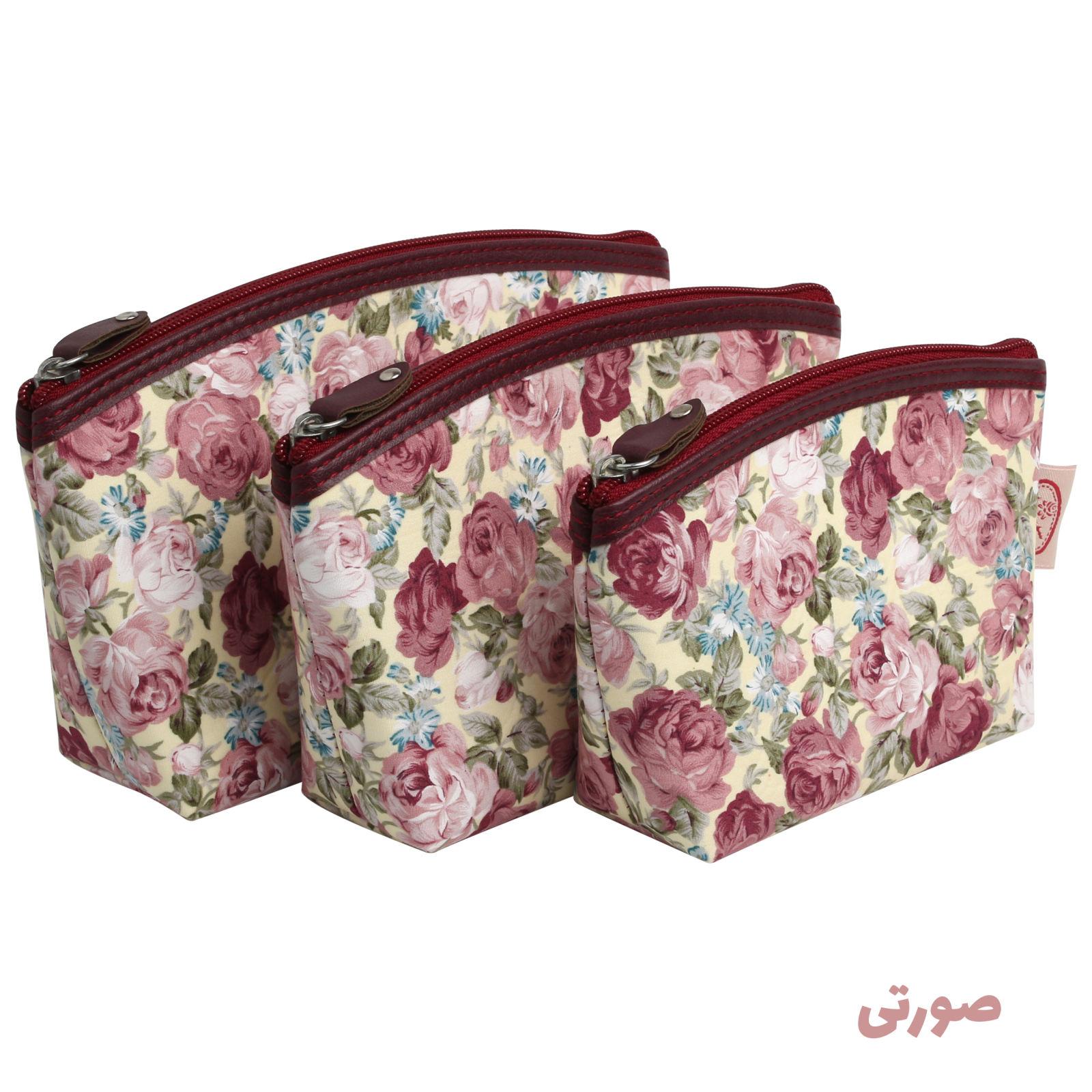 کیف لوازم آرایش زنانه سیب کد 15-Bgf مجموعه 3 عددی -  - 4