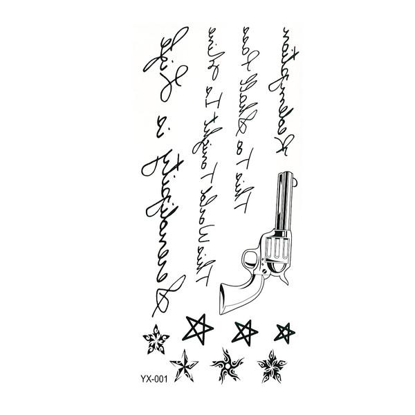 تتو موقت طرح تفنگ و نوشته کد YX001