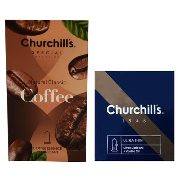 کاندم چرچیلز مدل Coffee بسته 12 عددی به همراه کاندوم مدل Ultra Lubricant  بسته 3 عددی