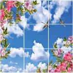 تایل سقفی آسمان مجازی طرح گل و پرنده کد ST 2461-9 سایز 60x60 سانتی متر مجموعه 9 عددی