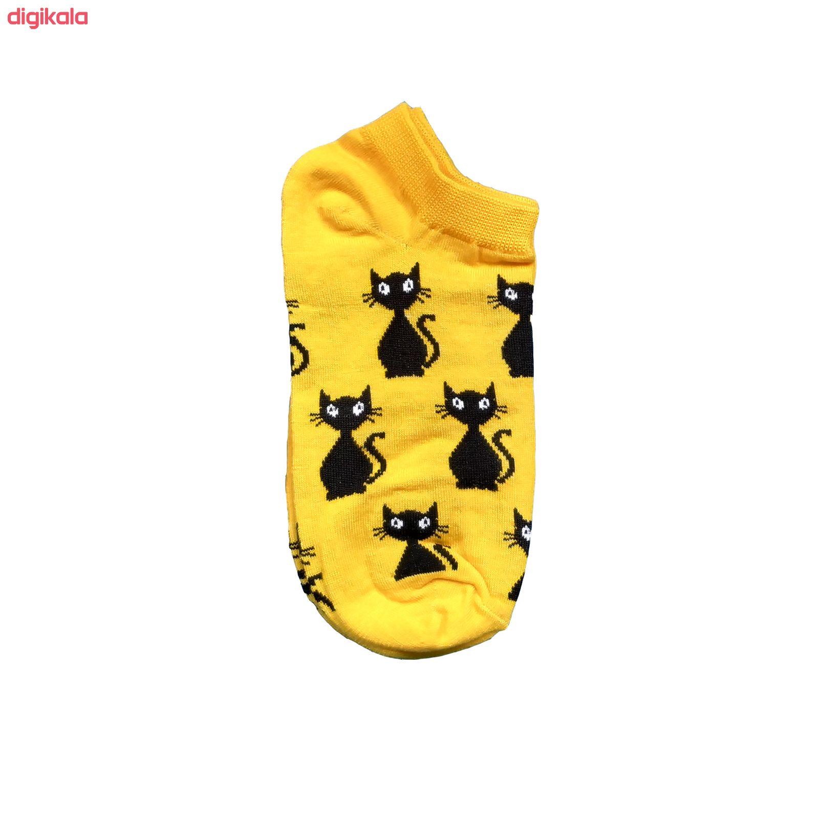 جوراب زنانه طرح گربه ایستاده کد 10011 main 1 2