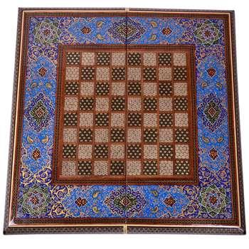 صفحه شطرنج خاتم کاری طرح گلستان کد GHA