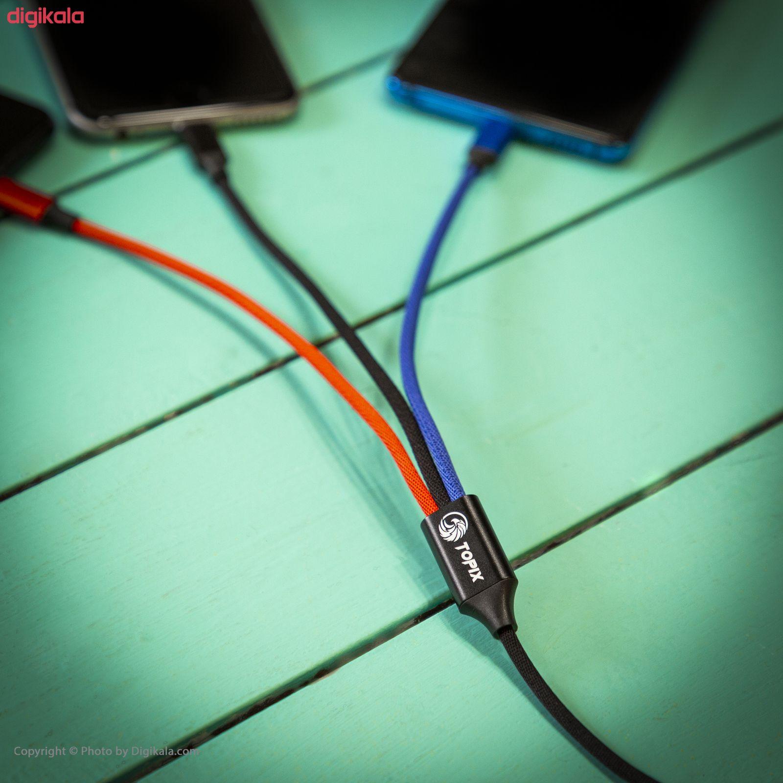 کابل تبدیل USB به لایتنینگ/USB-C/microUSB تاپیکس مدل TS-03 طول 1.2 متر main 1 11