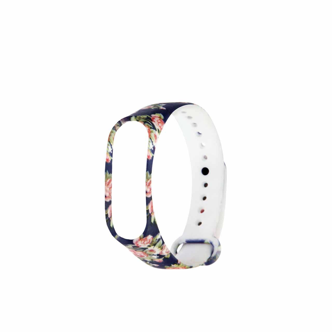 بند طرح گل مدل DBLU01 مناسب برای مچ بند هوشمند شیائومی Mi Band 3 /Mi Band 4