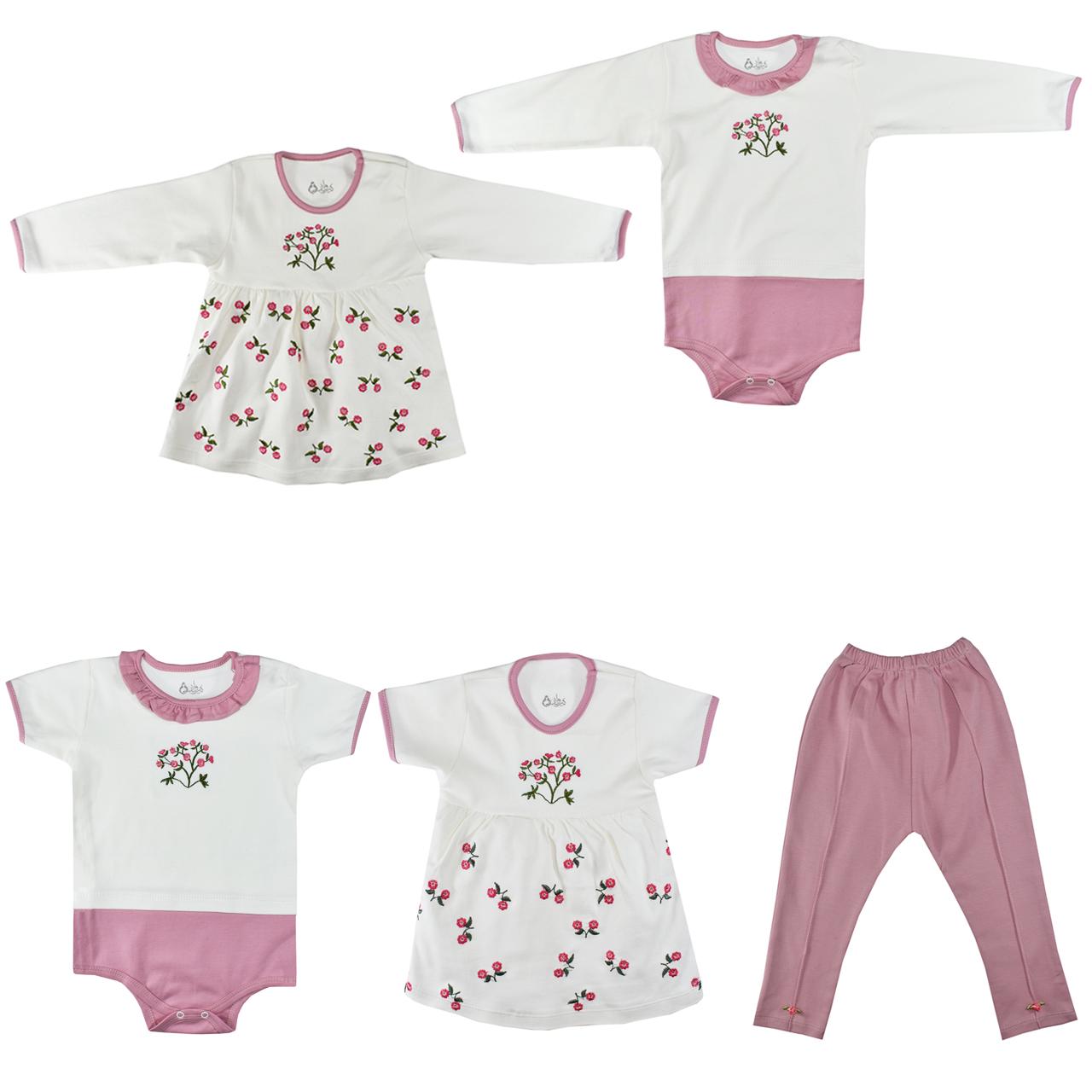 ست 5 تکه لباس نوزادی نیروان طرح گل کد 4