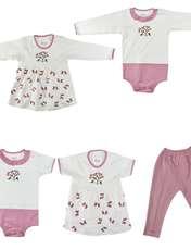 ست 5 تکه لباس نوزادی نیروان طرح گل کد 4 -  - 1