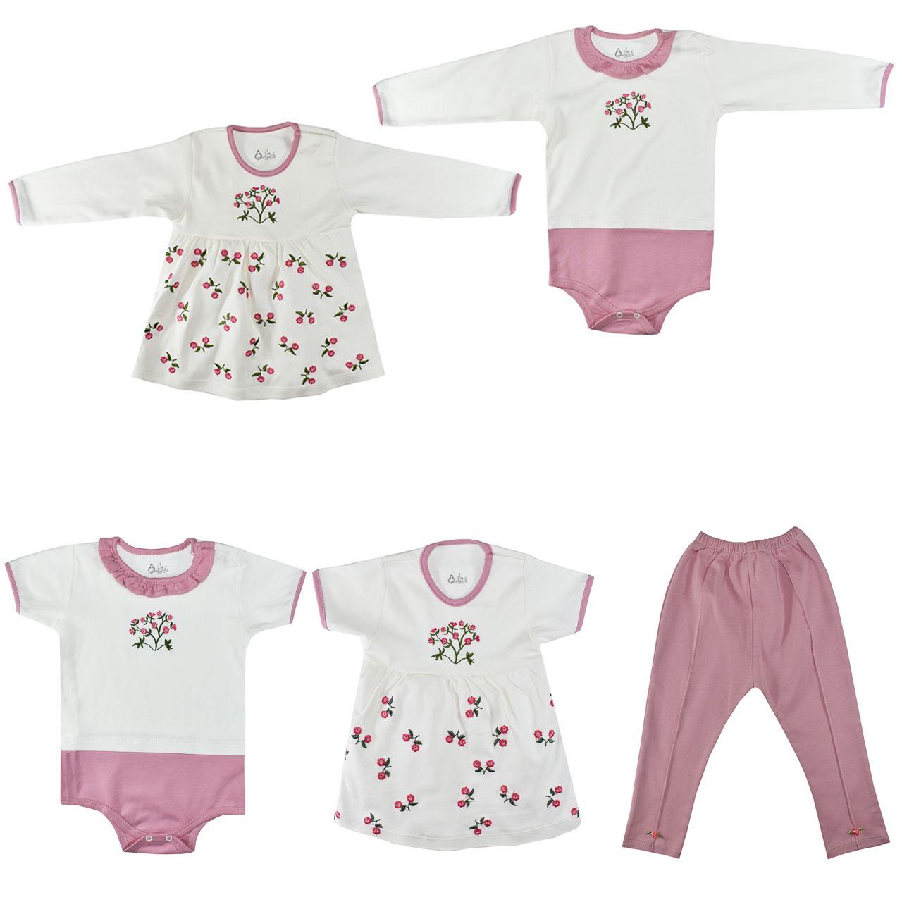 ست 5 تکه لباس نوزادی نیروان طرح گل کد 4 -  - 2