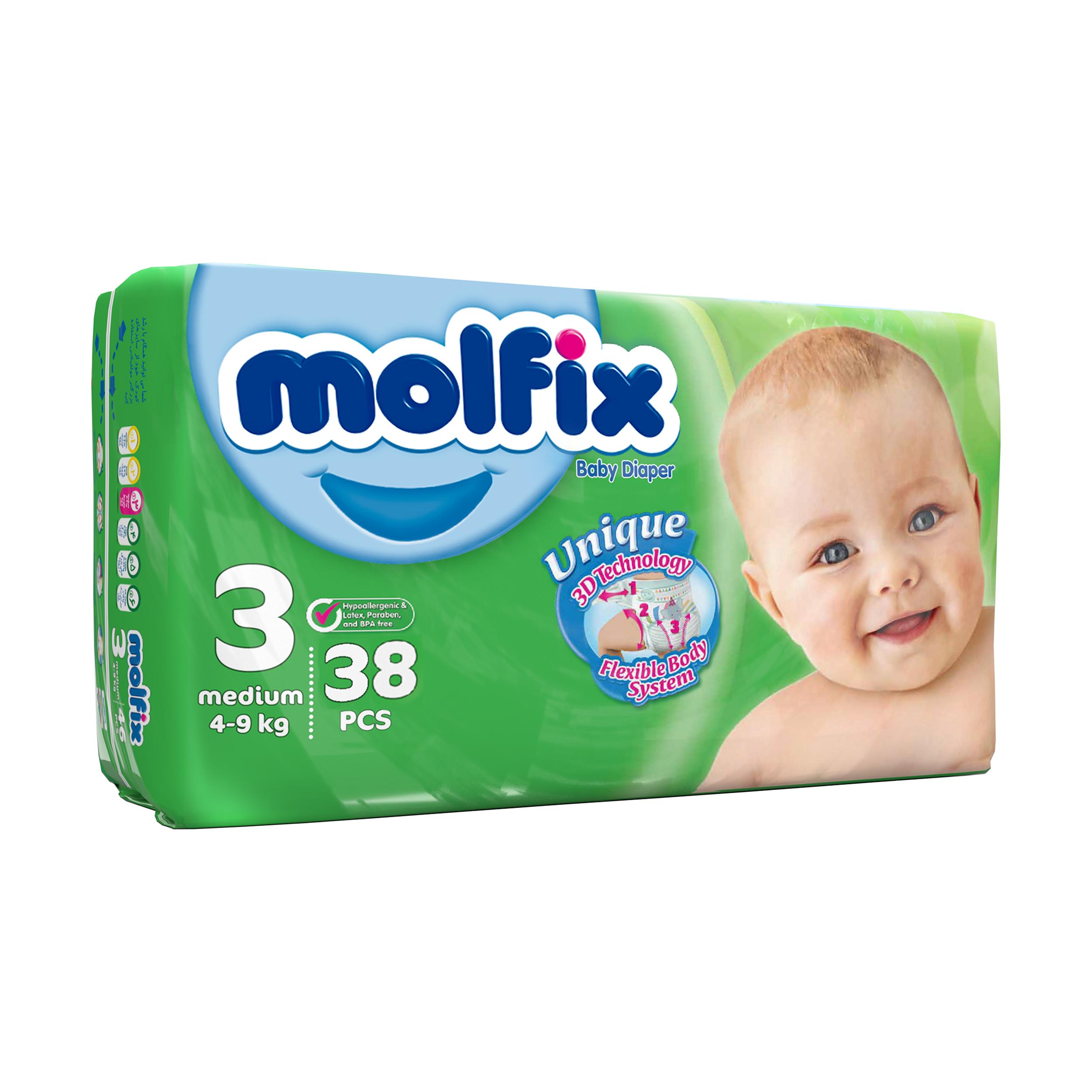 پوشک کودک مولفیکس سایز 3 بسته 38 عددی