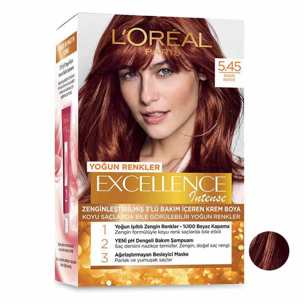 کیت رنگ مو لورآل مدل Excellence شماره 5.45 حجم 48 میلی لیتر رنگ مسی قهوه ای