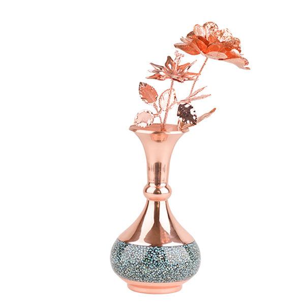 گلدان فیروزه کوبی هنرلوکس مدل FG15 به همراه گل