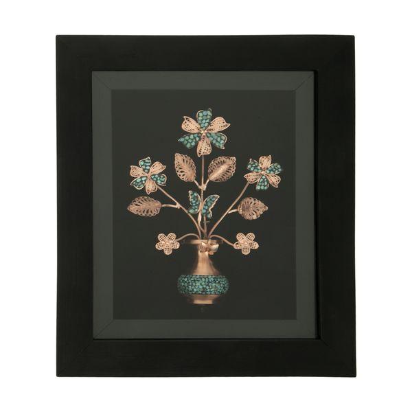 تابلو فیروزه کوبی طرح گل و گلدان کد 1