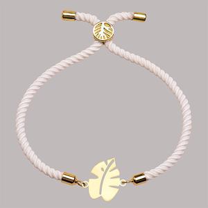 دستبند طلا 18 عیار دخترانه کرابو طرح برگ انجیر مدل Krd1282