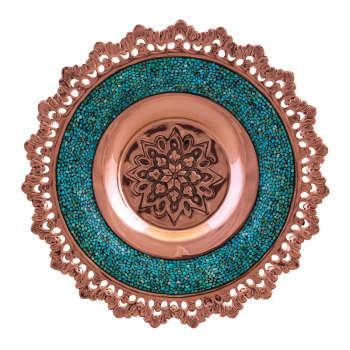تصویر بشقاب فیروزه کوبی مسجدی مدل F51