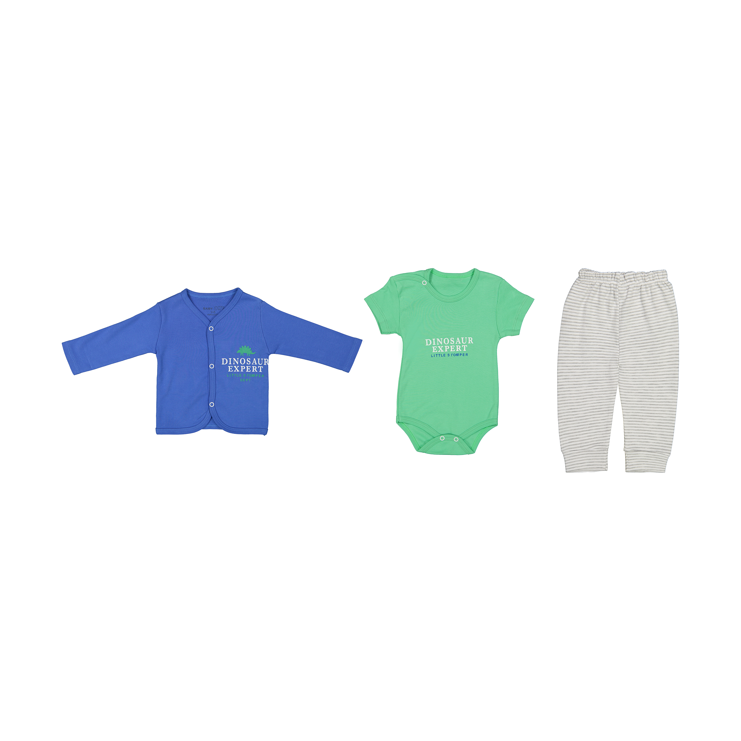 ست 3 تکه لباس نوزادی بی بی وان مدل دایناسور کد 468