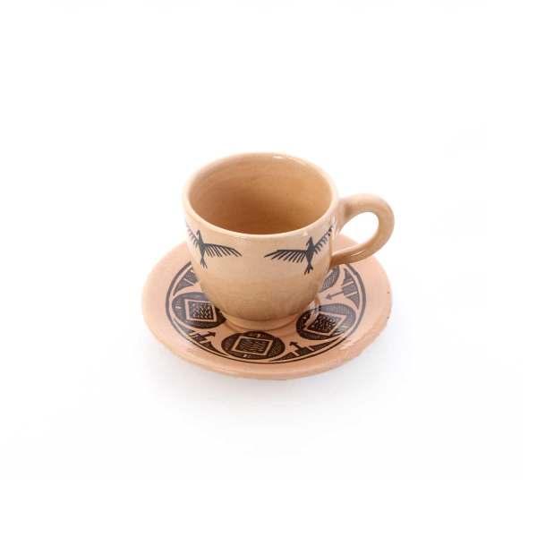 فنجان و نعلبکی سفالی آرانیک مدل شوش باستان کد 1007800033