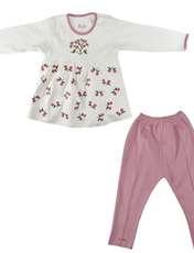 ست تونیک و شلوار نوزادی دخترانه نیروان طرح گل کد 1 -  - 1