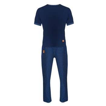 ست تی شرت و شلوار مردانه لباس خونه مدل طه 991126 کد 4505374 رنگ آبی کاربنی