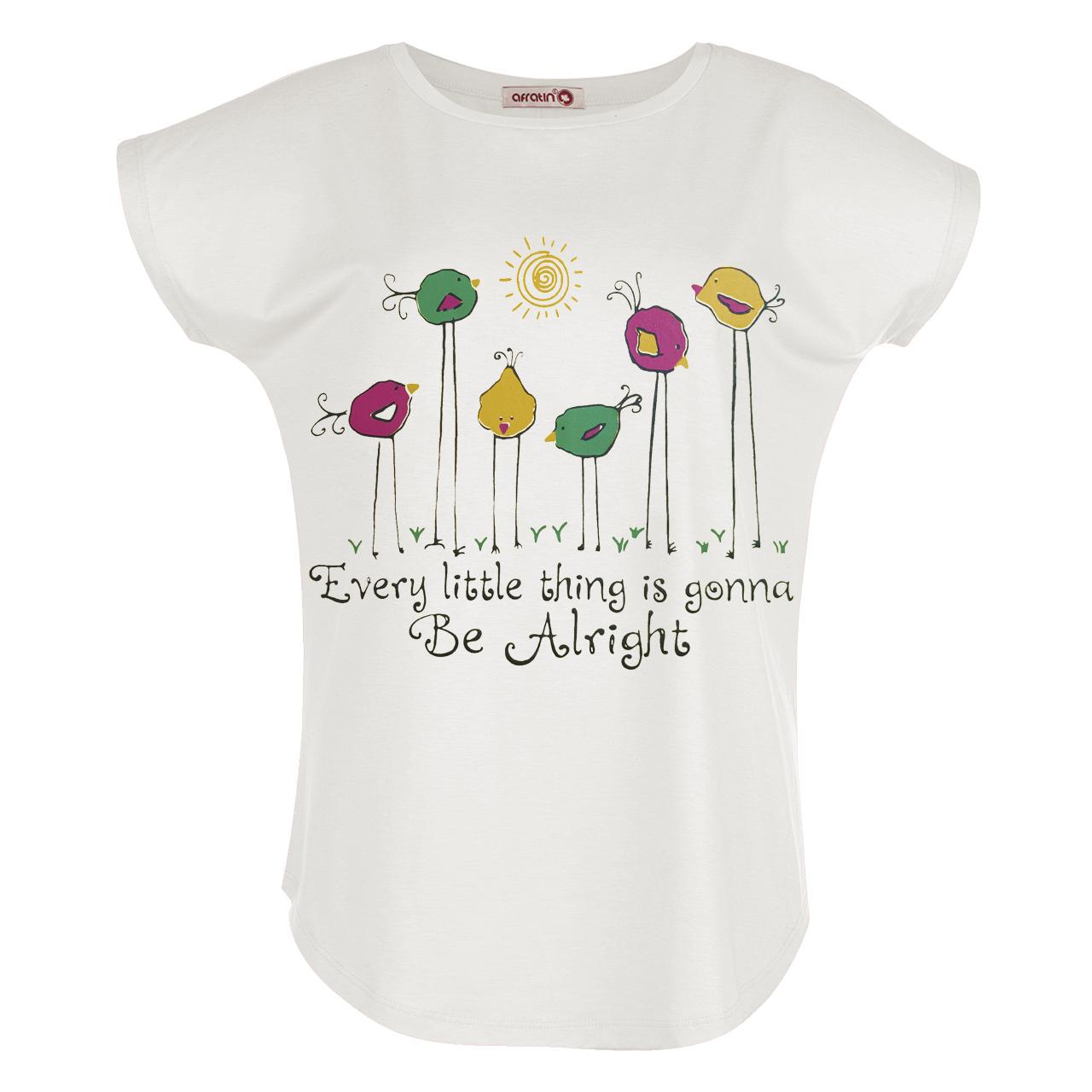 تی شرت زنانه افراتین طرح جوجه کد 2549 رنگ شیری