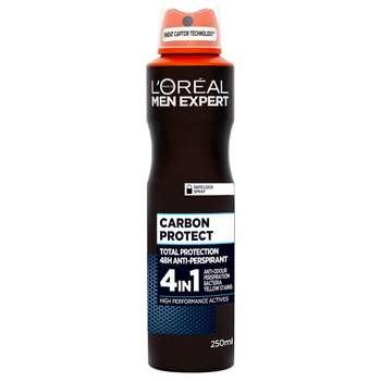 اسپری ضد تعریق مردانه لورآل سری Men Expert مدل Carbon Protect حجم 250 میلی لیتر