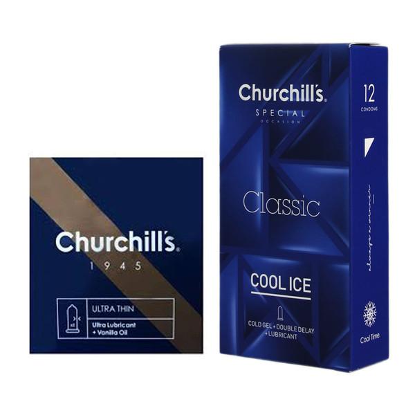 کاندوم چرچیلز مدل Cool Ice بسته 12 عددی به همراه کاندوم چرچیلز مدل Ultra Lubricant بسته 3 عددی