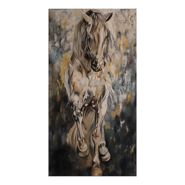 تابلو نقاشی رنگ روغن مدل اسب تازی