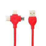 کابل تبدیل USB به لایتنینگ / USB-C / microUSB مدل LMT-132 طول 1 متر