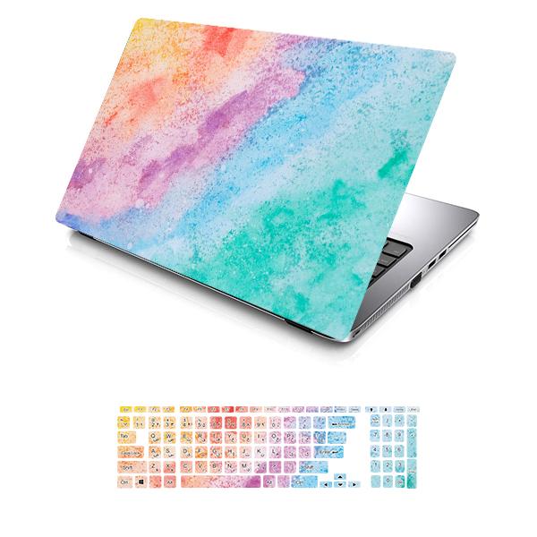 استیکر لپ تاپ توییجین و موییجین طرح Colorful کد 79 مناسب برای لپ تاپ 13 اینچ به همراه برچسب حروف فارسی کیبورد