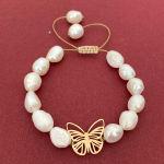 دستبند طلا زنانه الماسین آذر طرح پروانه مدل PARV04