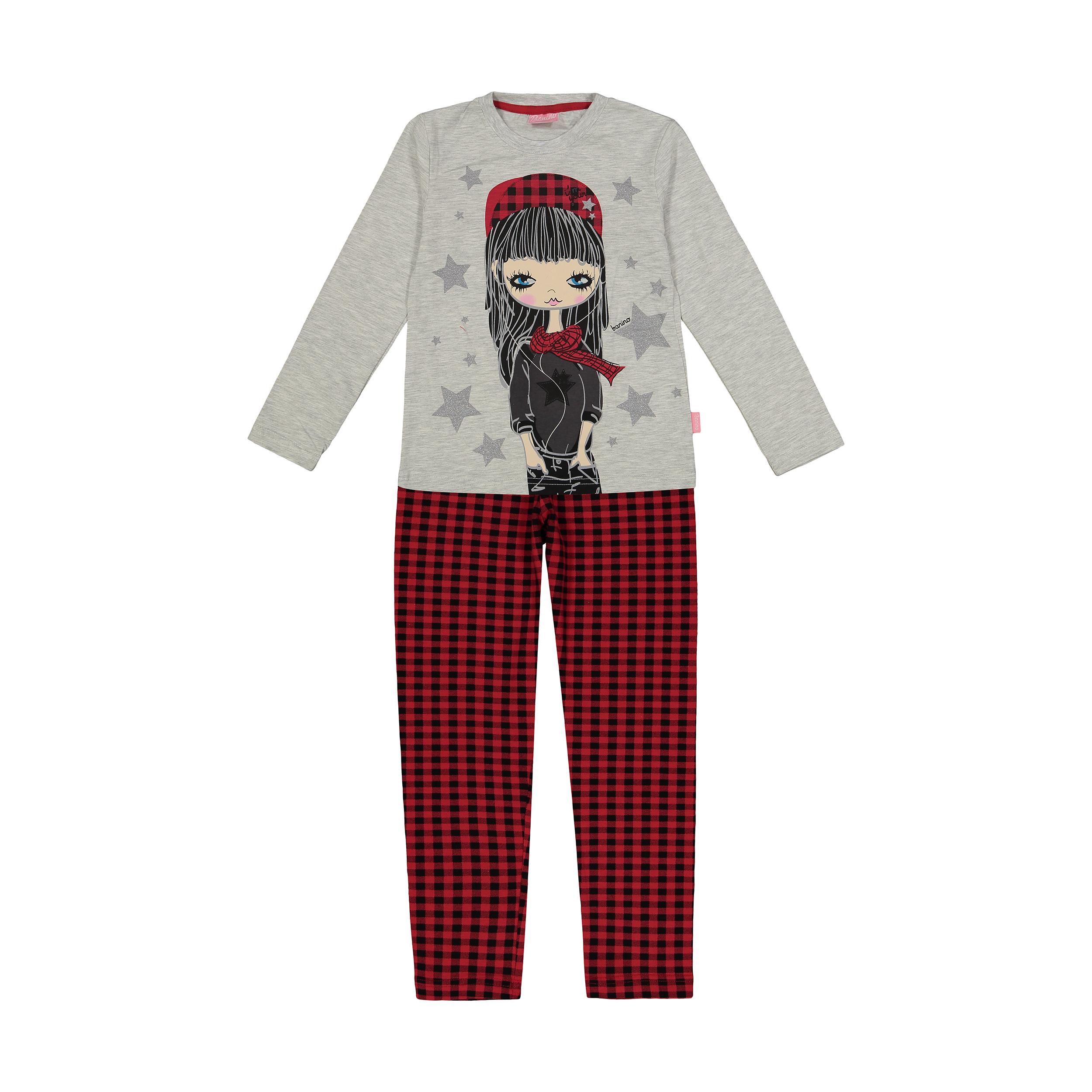 ست تی شرت و شلوار راحتی دخترانه بانی نو مدل 2191119-91