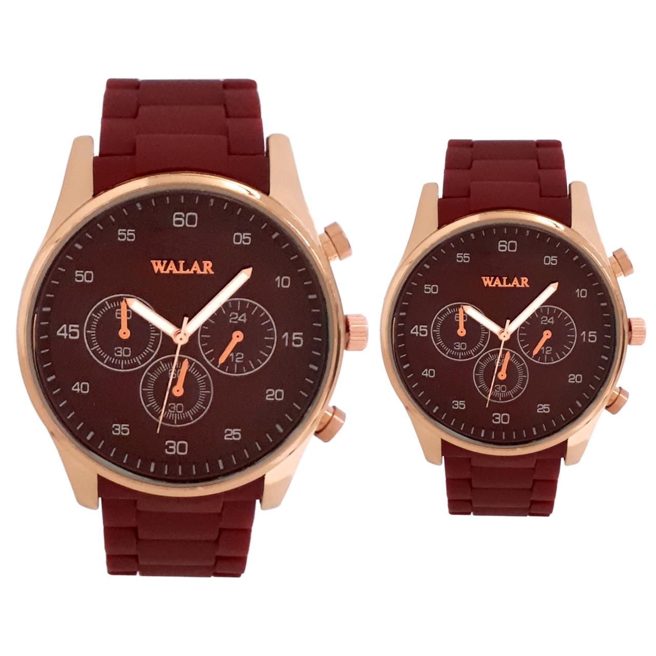 قیمت و خرید                      ست ساعت مچی عقربه ای زنانه و مردانه والار مدل WG02101