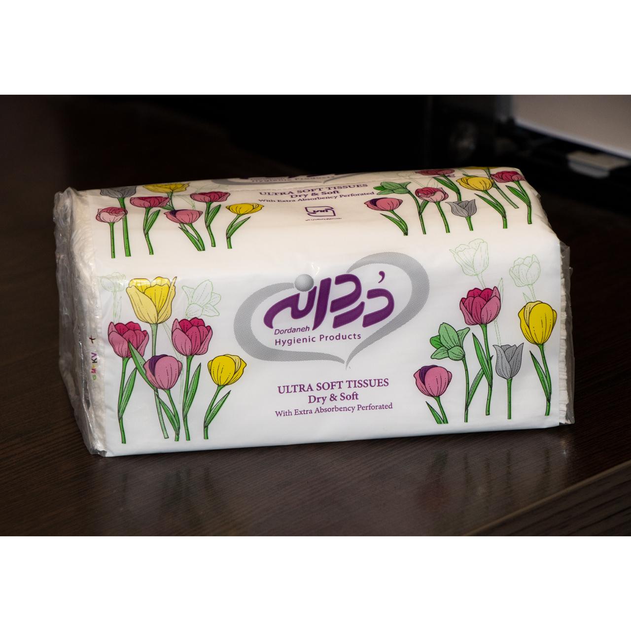 دستمال کاغذی 100 برگ دردانه مدل tulips بسته 10 عددی