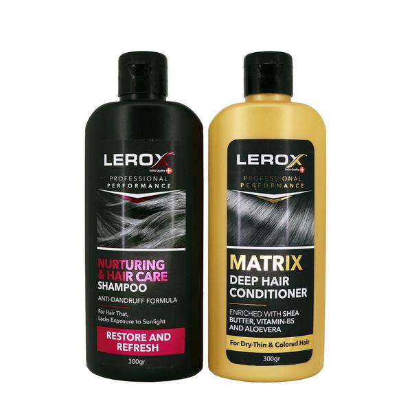 شامپو مو لروکس مدل Nurturing & Hair Care حجم 300 میلی لیتر به همراه نرم کننده مو لروکس مدل Matrix حجم 300 میلی لیتر
