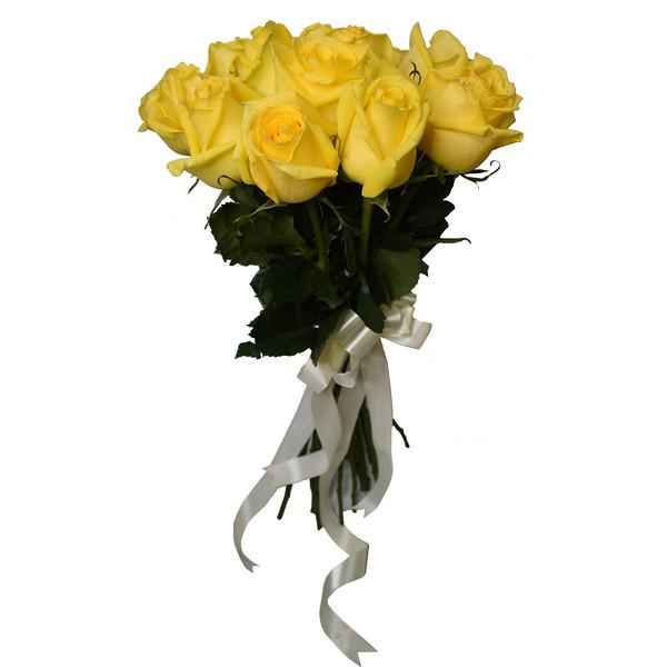 شاخه گل رز هلندی زرد دسته 15 عددی