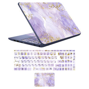 استیکر لپ تاپ مدل marbel کد 12 مناسب برای لپ تاپ 15 تا 17 اینچ به همراه برچسب حروف فارسی کیبورد