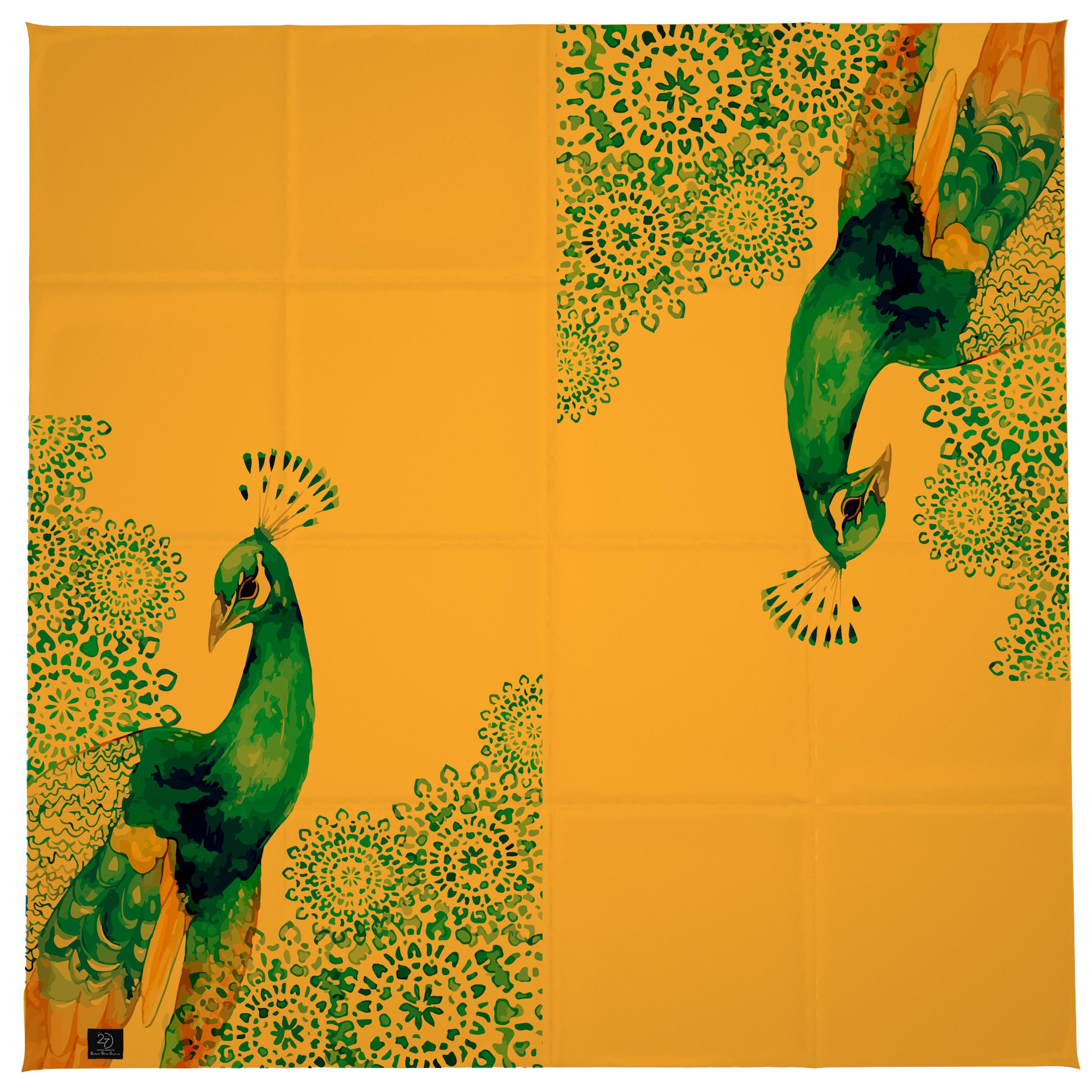 روسری زنانه 27 طرح طاووس کد H04 -  - 9